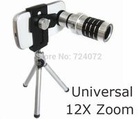 Universal 12x Zoom Optical Lens Mobile Phone Telescope +Tripod+Clip+Retail Box For iPhone6 5 Sumsung HTC Aluminum Telescope Lens