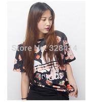 new 2014 women blouse fashion floral print short sleeve casual women t shirt loose shirts
