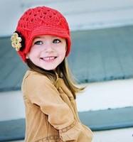 Wholesale Price Baby Girl Handmade Winter Hat Kids Crochet Beanies Skullies Hat Children Knitted Warm Cap 3 Colors Free Shipping