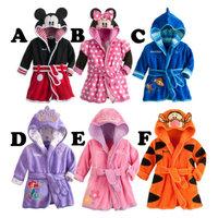 2014 New Baby bathrobe Kids pajamas Flannel Cartoon Infant robe Hooded long sleeve Girl flannel Children Home wear Boy nightgown