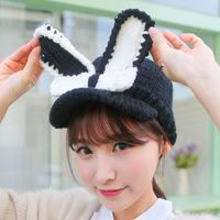 2014 Winter fashion hat women's cute woolen rabbit ears baseball caps