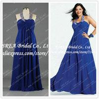 High Waist Elegant Crystal Halter Long Plus Size Evening Dress Blue Chiffon T1105 Real Picture