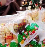 10*11 cm Christmas tree Santa Claus gift bag cake biscuit cookie pastry bakery candy packaging ziplock bag baking package bag