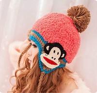 2014 Winter cap cute monkey  knitted caps women's fashion woolen hats