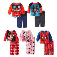 2014 New Winter Children Cartoon Pijamas 100% Cotton Baby Pajamas Pyjamas Fleece Clothing set Warm Kids Printed Sleepwears