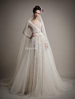 New Arrival Floor Length v neck  long sleeve  applique Wedding Dresses 2015 RTT-0137  winter dress a line  vestido de noiva