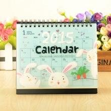 2015 Cartoon Animal Desk Calendar Stand Flip Calendar Rabbit Panda 2 Types K1447(China (Mainland))