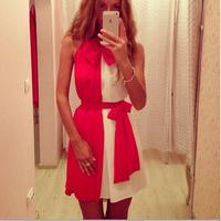hot sale women clothes 2014 summer new fashion women's clothing sleeveless chiffon dress stitching decorative bow girl dress