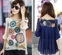 Plus Size M-XXXL 2015 New Women Fashion Loose chiffon blouse shirts tops casual Korean version print short-sleeved chiffon shirt