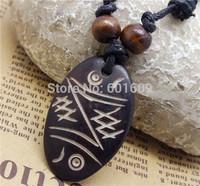 Free Shipping Best Selling 1pc Tibetan Yak Bone carved Totem symbols HandMade Ethnic Unisex amulets pendants necklace set TD109