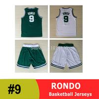 Rajon Rondon Jersey Boston #9 Rondo Basketball Uniform and Shorts Kit White and Green Free Shipping