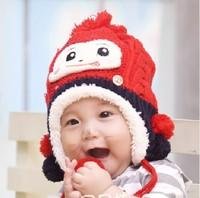 Wholesale Price Baby Cotton Crochet Winter Hat Children Cartoon Monkey Bomber Hats Kids Cute Warm Cap Knitted Free Shipping