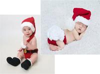 Retail Christmas Costume Hat&Diaper/Pants Set Newborn Baby Photo Props Toddler Santa Photography Props 1set  MZS-14032