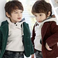 Free shipping 2014 new autumn winter children boy outerwear coat Handsome baby boy clothes children corduroy blazer green coffee