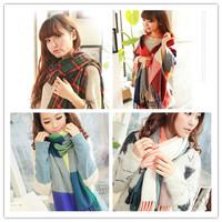 1Pcs Women Winter Scarf Fashion Wool Plaid Thick Scarves Shawl Spain Desigual Soft Warm Scarf Muffler With Tassel 871467