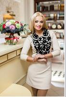 2014 winter dress new fashion casual print long sleeve mini dress soild color pencil dress vestidos free shipping