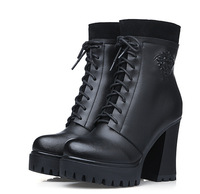 Women boots 2014 high heels ankle boots new fashion women's winter boots warm  women genuine leather boots black A270