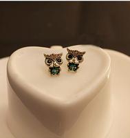New 2014 Hotsale Bronze Jewelry Lady Fashion Vintage Style Owl Rhinestone Cute Vintage Ear Earrings