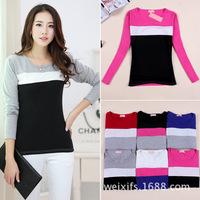 Autumn/winter 2014 new fashion 6 color casual women T-shirt striped slim O neck long sleeve women top