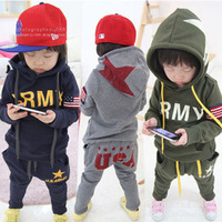 2014 wholesale New Spring/Autumn/winter Children/Baby boy Clothes set,cotton long sleeve head hoodie + pants suit Drop shipping