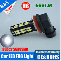 Freeshipping 2PCS/LOT H8 H9 H11 LED 30 SMD 5730 DC9V-14V 900LM Car Fog Headlight Tail White Light Bulb Lamp