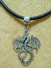 5x New Fashion Jewelry Alloy Tibetan Silve Dragon Charms Pendant Necklace 2mm 45cm Black Korea Wax Rope Chain