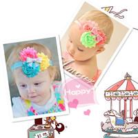 2013 latest three yarn ribbon bow flower children hair bands a generation of fat children