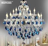 Large Blue Crystal Chandelier Luster Light  Silver Chandelier, Blue Crystal Chandelier Light Fixture