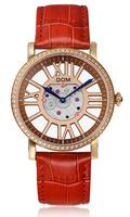 Dom brand women dress watches ladies leather quartz watch clock women wristwatches woman casual lskeleton watch relogio feminino