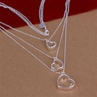 Hot Sale!!Free Shipping 925 Silver Necklace,Fashion Sterling Silver Jewelry Three-Wire and Hearts Necklace SMTN038