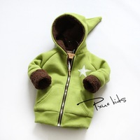 thickened hooded cashmere zip cardigan jacket child witch hat Brushed Korean star printing