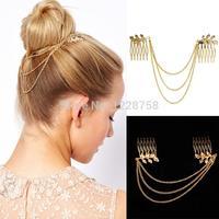 A7 Free shipping   Women Fashion Metal Rhinestone Head Chain Jewelry Headband Head Piece Hair band  H6556 P