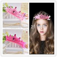 2014 New 10pcs Kids/Girl/Princess/Baby Peforate hair band Charming Crown Pearl Stone Ribbon HeadBand/Hair Accessories
