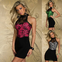 Rose Pink/White/Green Colors Womens Sleeveless Party Dresses ML17911 Backless Fashion Sexy Dresses Mini Lace Bodycon Dress 2014