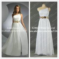 Sequin Belt Grecian One Shoulder Chiffon White Evening Dresses 2014 Long Real T1135 Vestido de Festa