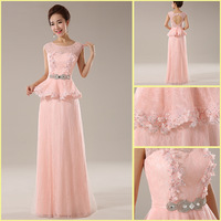 Real Photo YZ0009 Sweetheart Neckline Skin Pink Heavy Beading Sash Floor Length Lace Evening Dress
