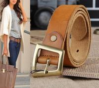 100% Cowhide Leather Brand Belts For Women Jeans Wide Strap Female Woman Belt  Cintos Femininos Gold Buckle Ceinture WBT0053
