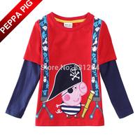 2015 New Kids Boy Peppa Pig T shirts Fashion Baby Boys Pirate George Pig Long Sleeve Cotton Tops Boys Clothes