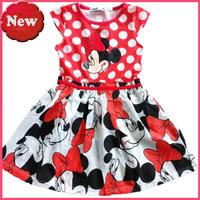 Retail 2014 new fashion girl's dress Minnie Christmas dress polka dot dress free shipping