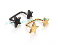 Double Five Star Gold Black Earring connection Ear Stud Pendant Fashion Body Piercing Jewelry Straight 90 degree New Ring