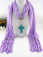 12Pcs/Lot New Fashion Jewelry Scarves Cross Pendant Tassel Scarf Lady