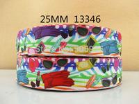 50Y13346 david ribbon free shipping 1'' printed ribbon Grosgrain ribbon for packing and bow garment accessoires