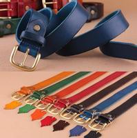 100% Genuine Leather Ladies Belts For Women Jeans Strap Woman Belt Cintos Femininos Brass Gold Buckle Quality Ceinture WBT0055