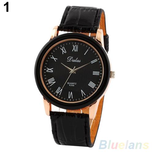 Мужские часы мода классический кожаный ремешок римские цифры кварцевые спорт наручные часы 2CMB