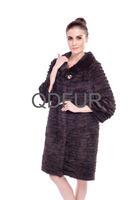 2014 Fashin Real Striped Mink Fur Coat Jacket  Winter Women Fur Outerwear Coats 3/4 Sleeve O-Neck 5XL 6XL QD80144