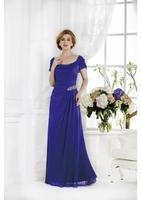 A-line Scoop Floor Ruffles Chiffon Rhinestone Royal Blue Mother Of The Bride Dresses A20