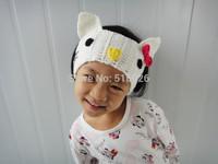 Crochet Headband Cute Kitty Ears Hair Bow Girls Hair Accessories