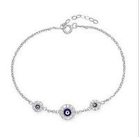 Fashion hot-selling antique evil eye bracelets woman turkey jewelry chain bracelet round blue eye girlgift E6464