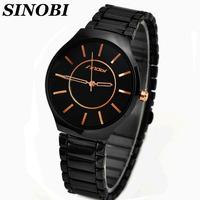 Sinobi Brand Business Black Stainless Steel Quartz Wrist Watch For Men Fashion Dress watch Free Shipp Wholesale