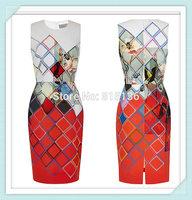 [REAL SHOT] 2014 NEW Summer European Brand Fashion Print O-Neck Sleeveless Temperament Dress Office Ladies Work Wear Dress